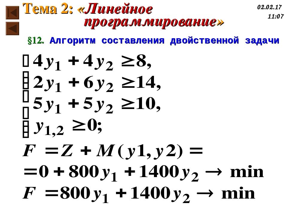 §12. Алгоритм составления двойственной задачи Тема 2: «Линейное программирова...