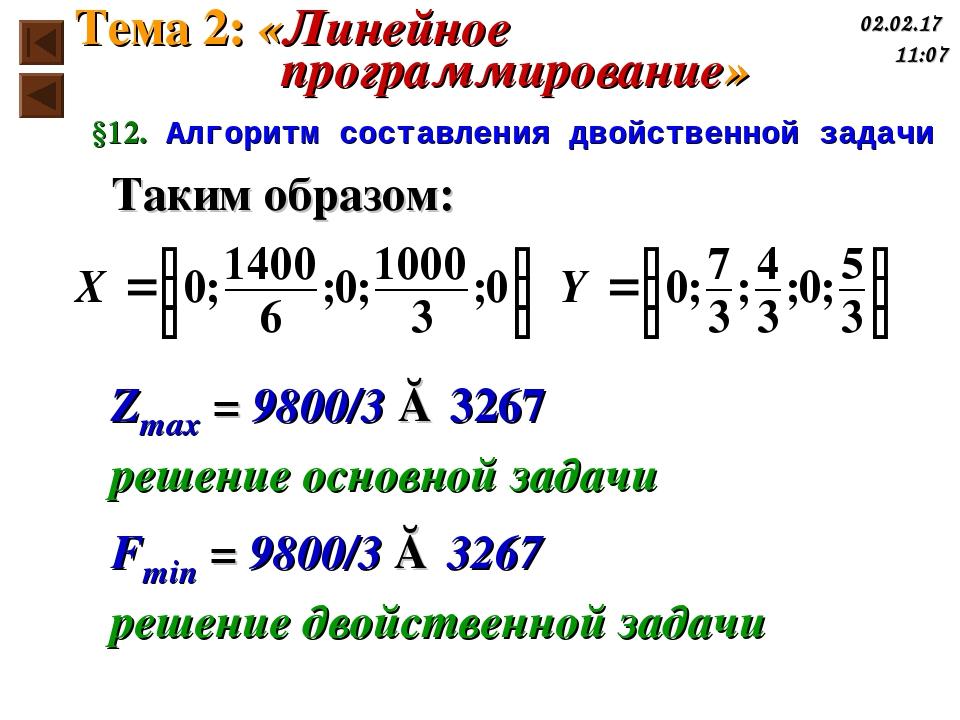 Таким образом: Zmax = 9800/3 ≈ 3267 решение основной задачи Fmin = 9800/3 ≈ 3...