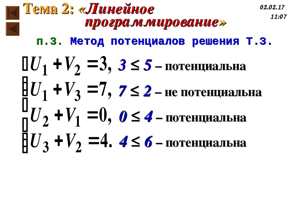 3 ≤ 5 – потенциальна 7 ≤ 2 – не потенциальна 0 ≤ 4 – потенциальна 4 ≤ 6 – пот...
