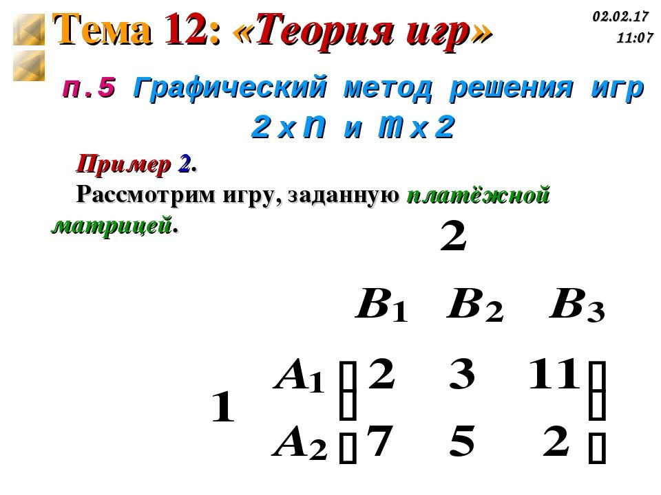 п.5 Графический метод решения игр 2 x n и m x 2 Пример 2. Рассмотрим игру, за...