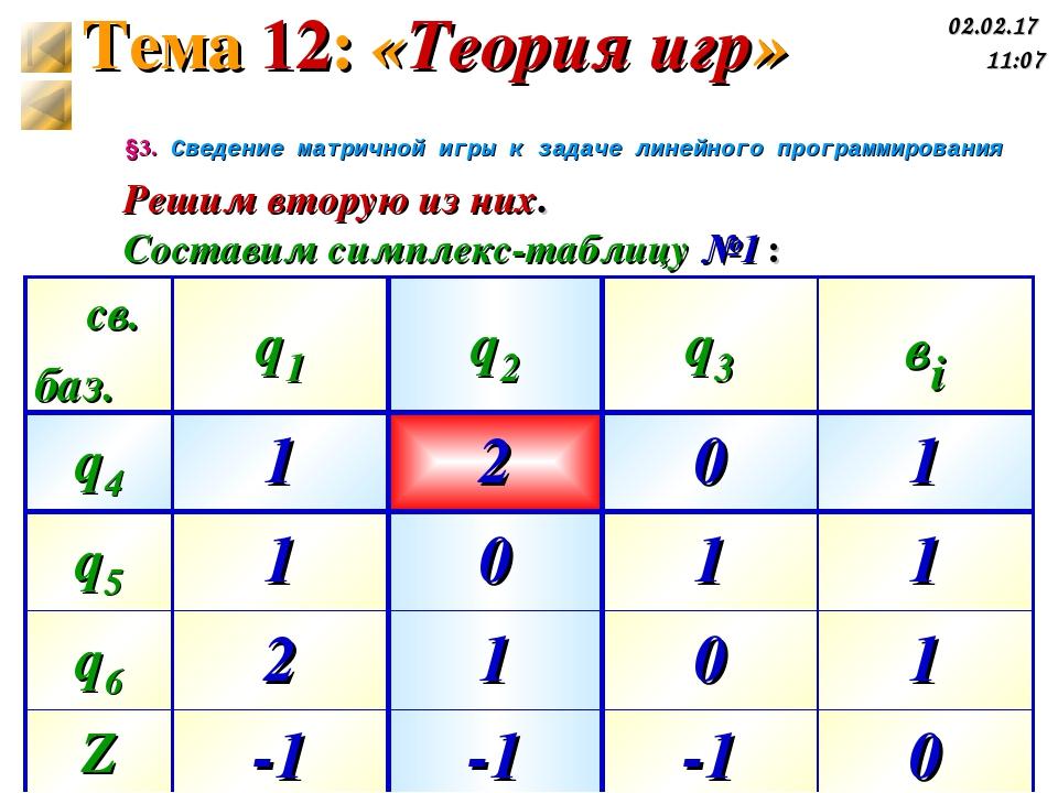 §3. Сведение матричной игры к задаче линейного программирования Решим вторую...