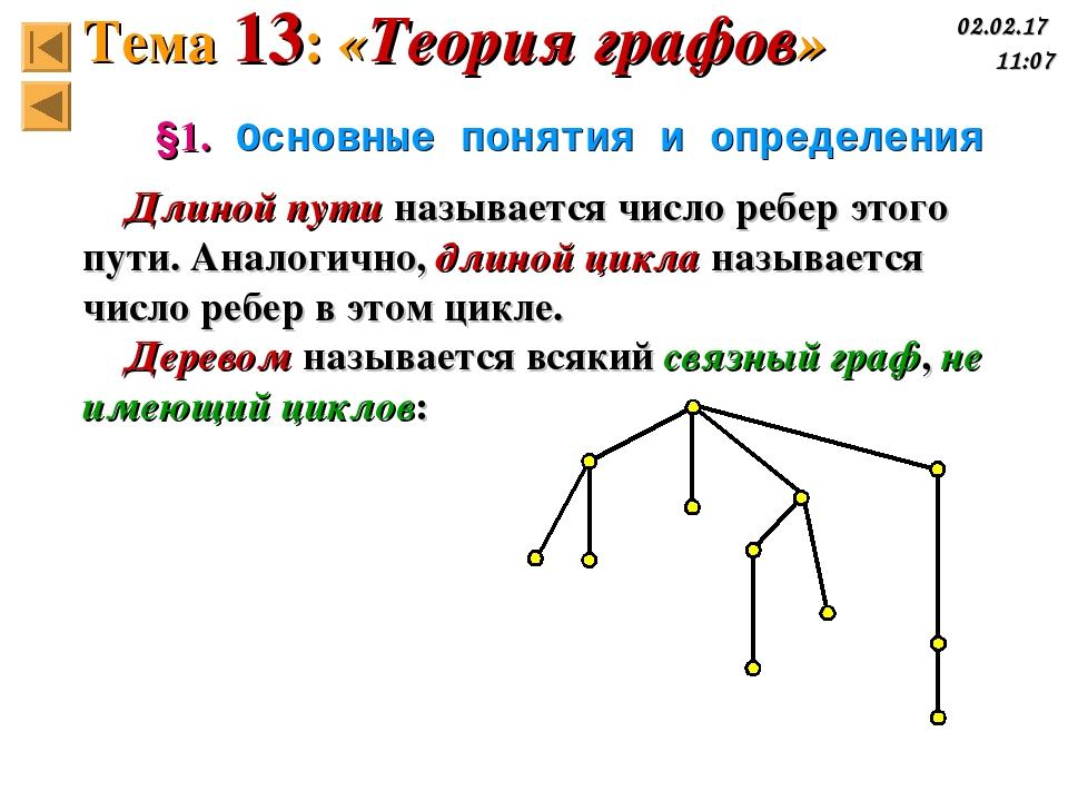 §1. Основные понятия и определения Длиной пути называется число ребер этого п...