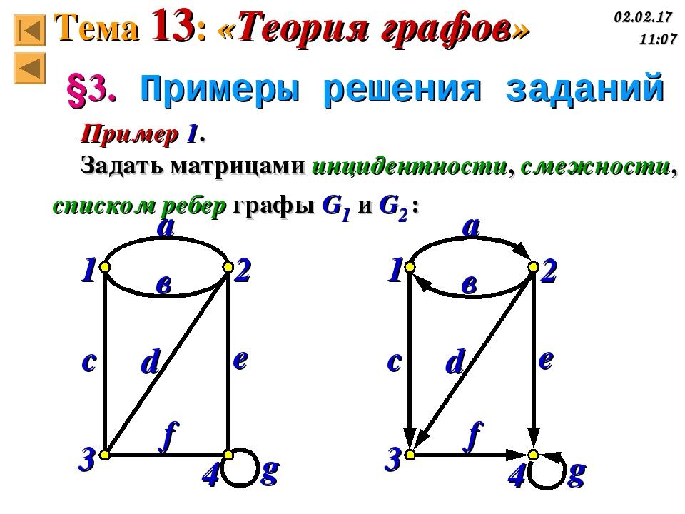 g 1 2 3 4 g 1 2 3 4 §3. Примеры решения заданий Пример 1. Задать матрицами ин...