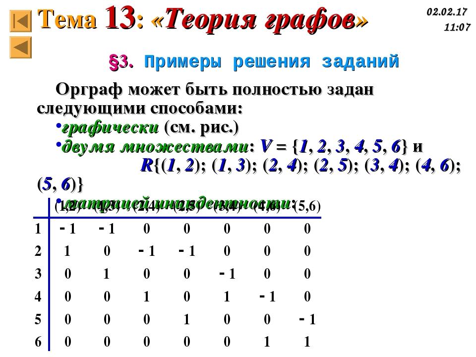 §3. Примеры решения заданий Орграф может быть полностью задан следующими спос...
