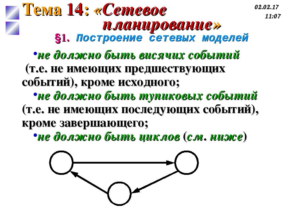 §1. Построение сетевых моделей не должно быть висячих событий (т.е. не имеющи...