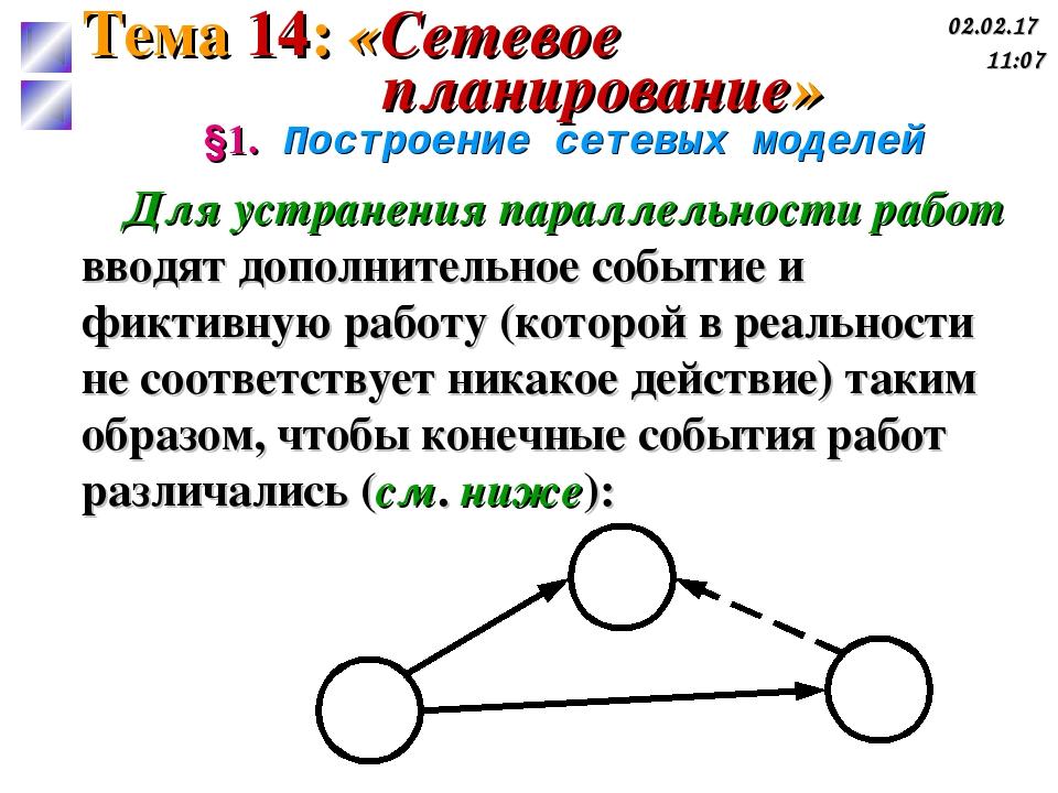 §1. Построение сетевых моделей Для устранения параллельности работ вводят доп...