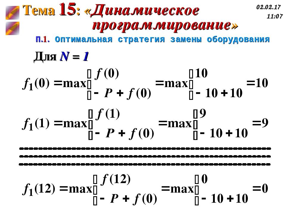 П.1. Оптимальная стратегия замены оборудования Для N = 1 Тема 15: «Динамическ...