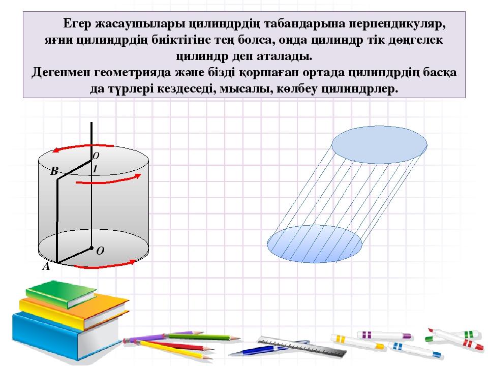Егер жасаушылары цилиндрдің табандарына перпендикуляр, яғни цилиндрдің биікті...