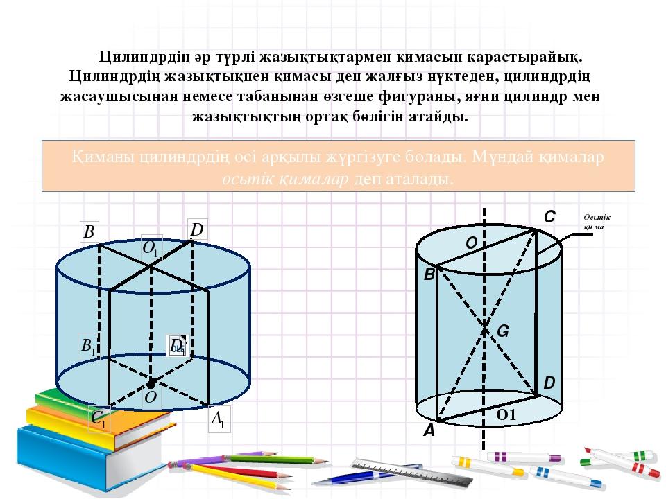 Цилиндрдің әр түрлі жазықтықтармен қимасын қарастырайық. Цилиндрдің жазықтықп...