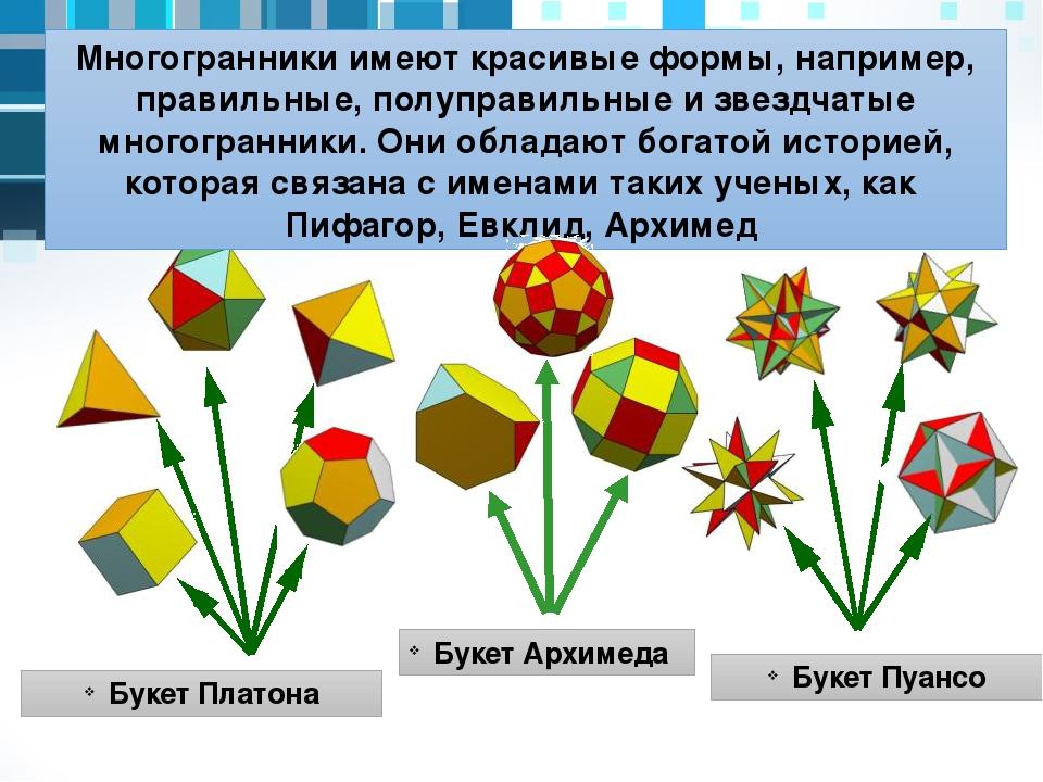 Букет Пуансо Букет Платона Букет Архимеда Многогранники имеют красивые формы,...