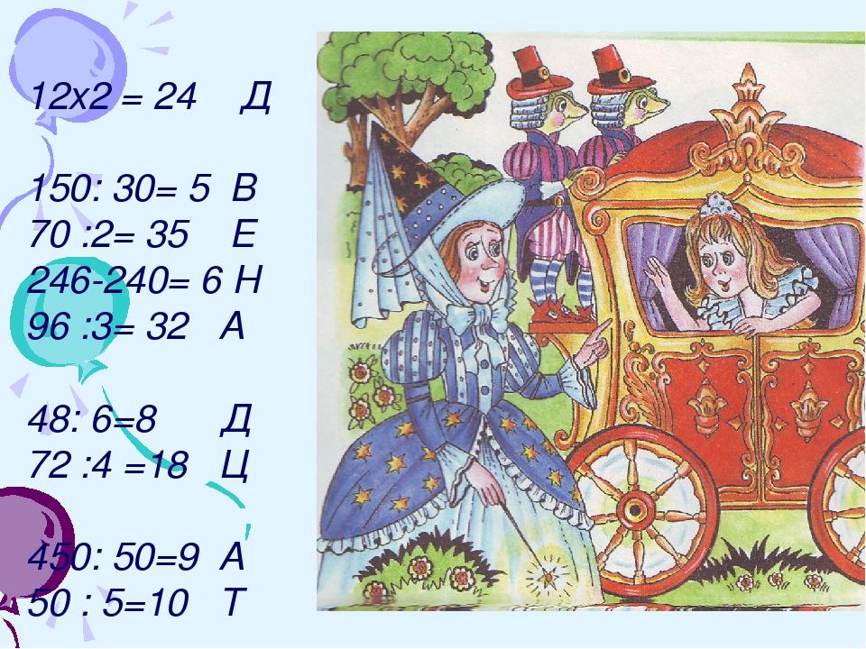12х2 = 24 Д 150: 30= 5 В 70 :2= 35 Е 246-240= 6 Н 96 :3= 32 А 48: 6=8 Д 72 :4...