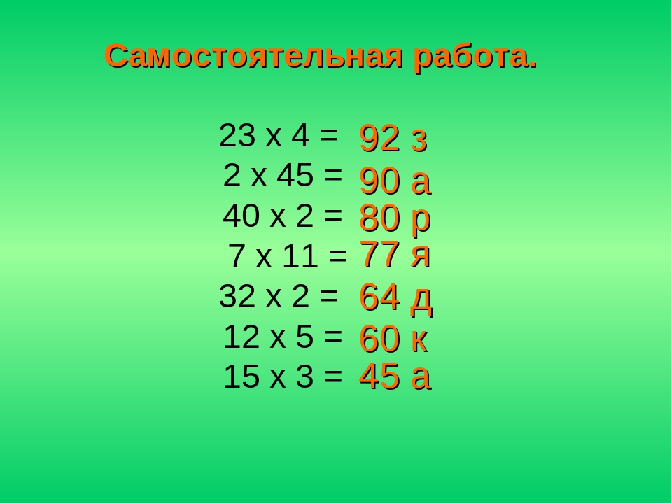 23 х 4 = 2 х 45 = 40 х 2 = 7 х 11 = 32 х 2 = 12 х 5 = 15 х 3 = Самостоятельна...