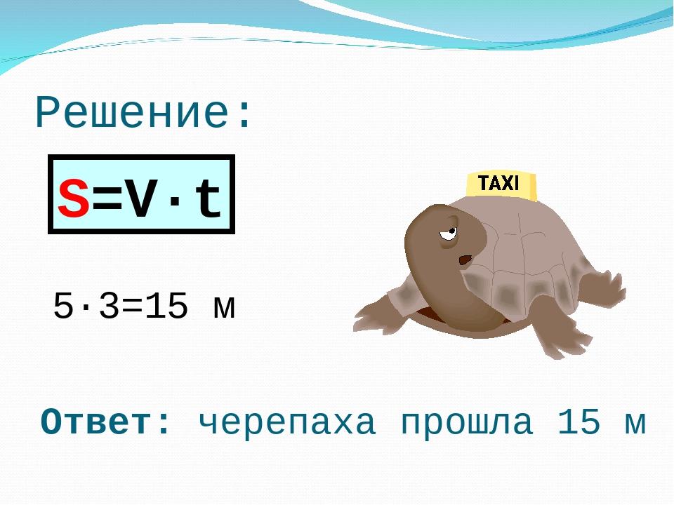 Решение: 5·3=15 м S=V·t Ответ: черепаха прошла 15 м