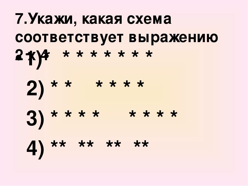7.Укажи, какая схема соответствует выражению 2 х 4 1)* * * * * * * * 2) * * *...