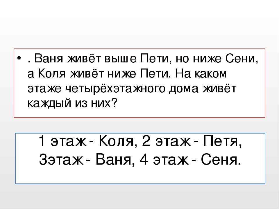 1 этаж - Коля, 2 этаж - Петя, 3этаж - Ваня, 4 этаж - Сеня. . Ваня живёт выше...