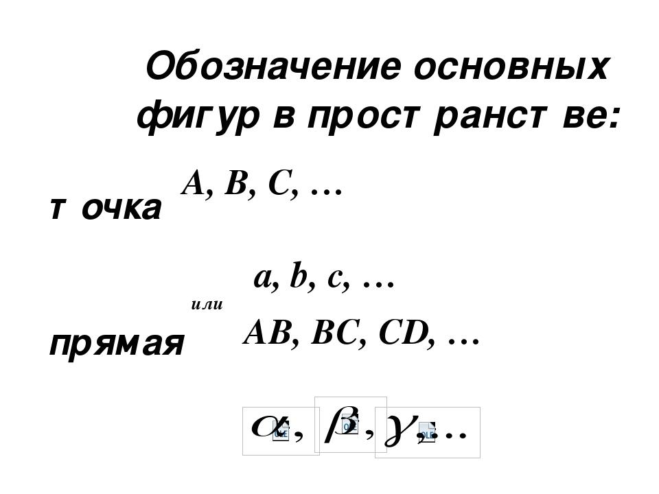 Обозначение основных фигур в пространстве: точка прямая плоскость A, B, C, …...