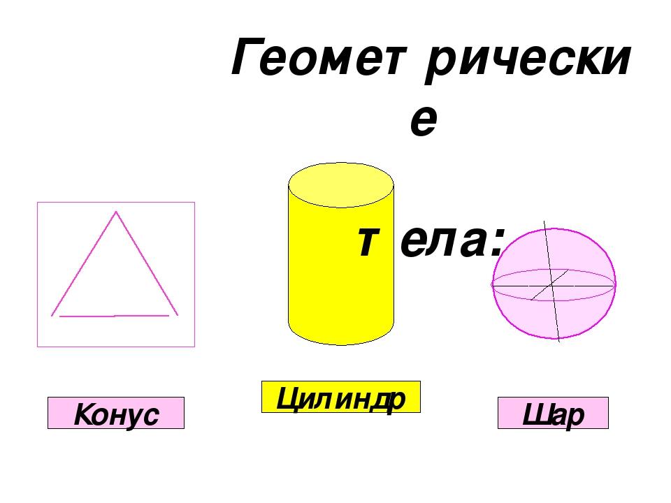 Геометрические тела: Цилиндр Конус Шар
