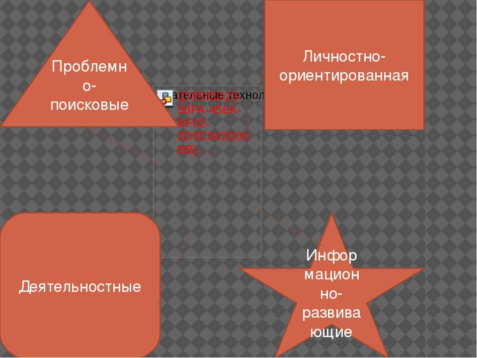 Проблемно-поисковые Личностно-ориентированная Деятельностные Информационно-ра...