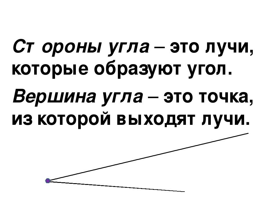 Стороны угла – это лучи, которые образуют угол. Вершина угла – это точка, из...
