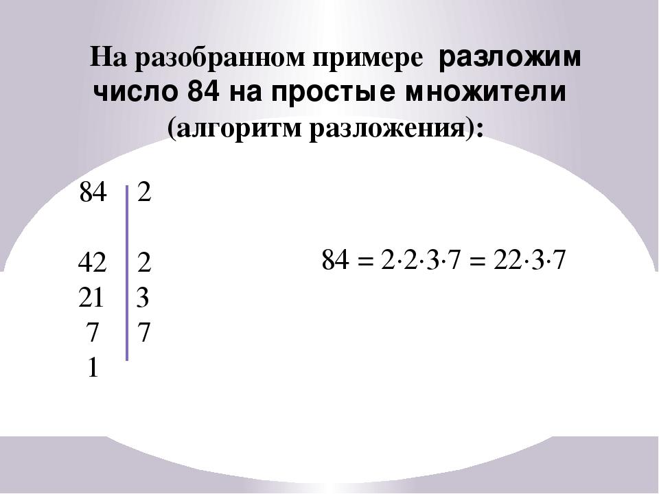На разобранном примере разложим число 84 на простые множители (алгоритм разло...