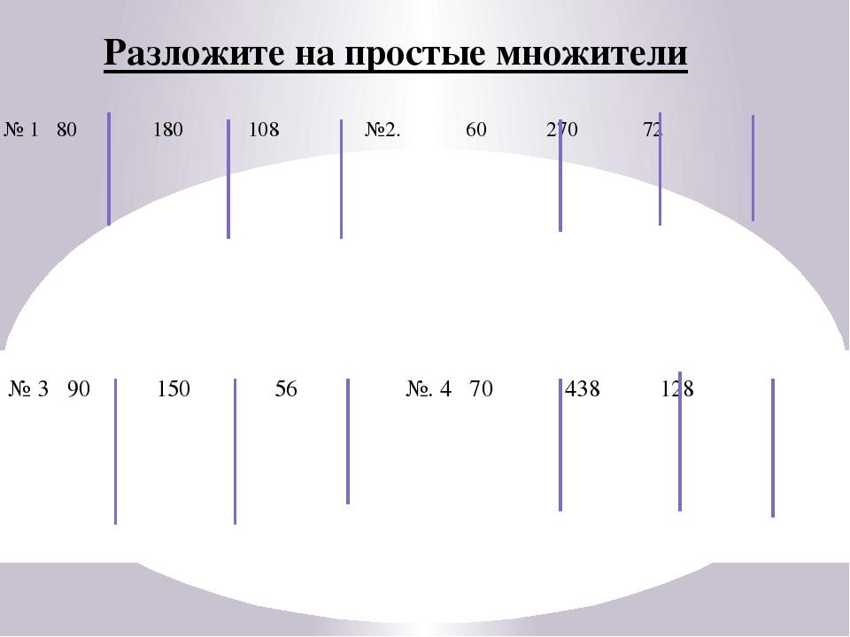 № 1 80 180 108 №2. 60 270 72 № 3 90 150 56 №. 4 70 438 128 Разложите на прост...