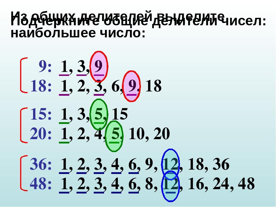 Подчеркните общие делители чисел: 9: 18: 15: 20: 36: 48: 1, 3, 9 1, 2, 3, 6,...
