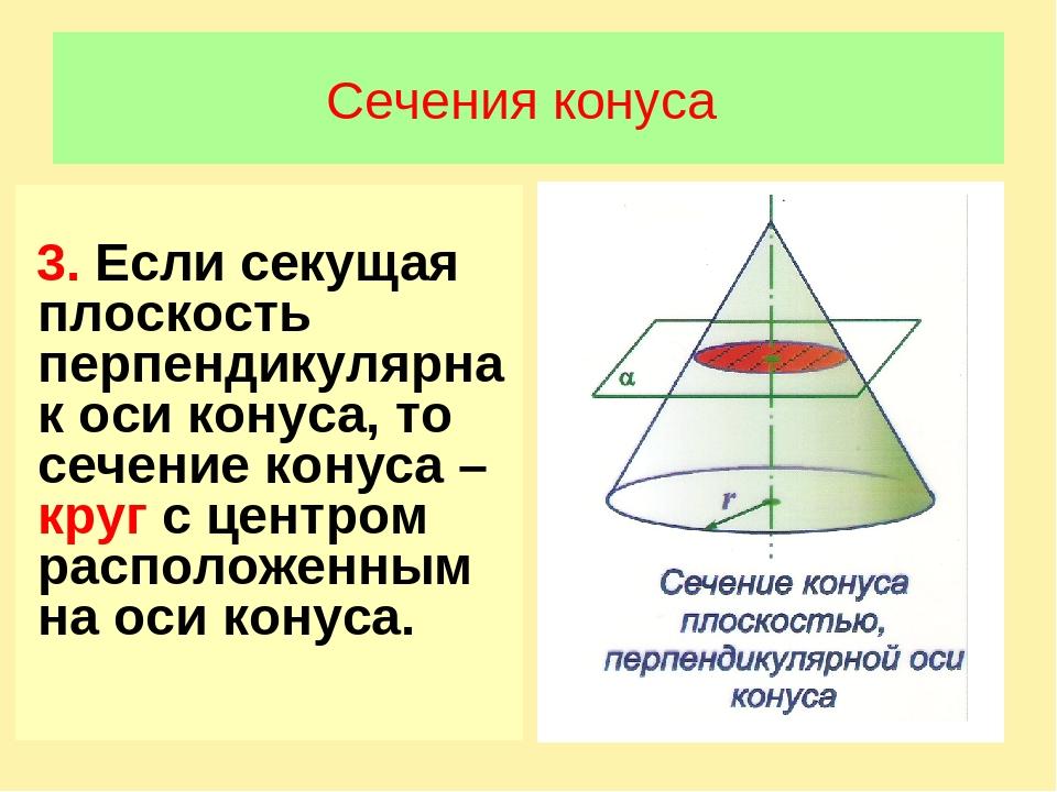 Сечения конуса 3. Если секущая плоскость перпендикулярна к оси конуса, то сеч...