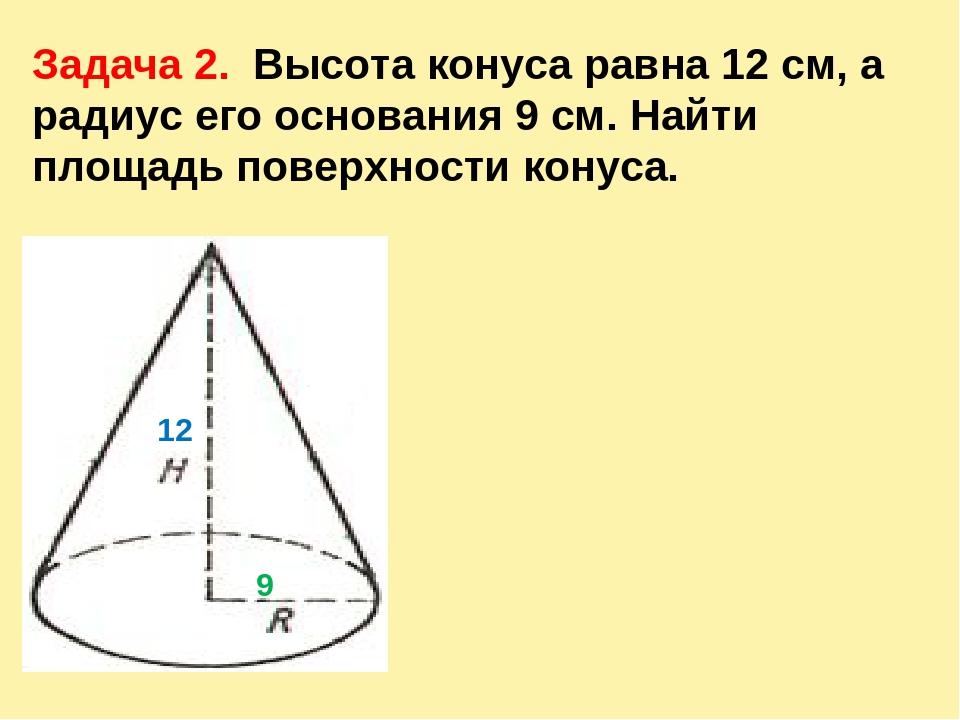 Задача 2. Высота конуса равна 12 см, а радиус его основания 9 см. Найти площа...