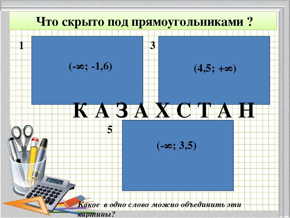 1 3 5 (-∞; -1,6) (4,5; +∞) (-∞; 3,5) Что скрыто под прямоугольниками ? Какое...