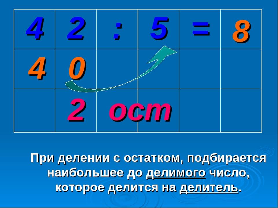 2 0 4 При делении с остатком, подбирается наибольшее до делимого число, котор...