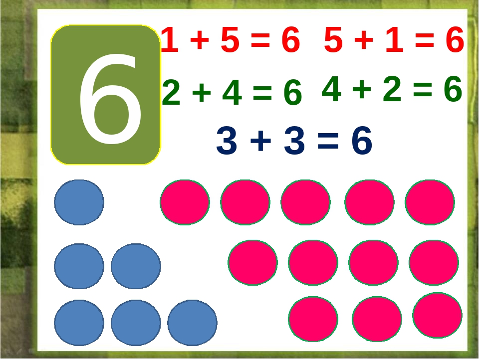 6 1 + 5 = 6 5 + 1 = 6 2 + 4 = 6 4 + 2 = 6 3 + 3 = 6