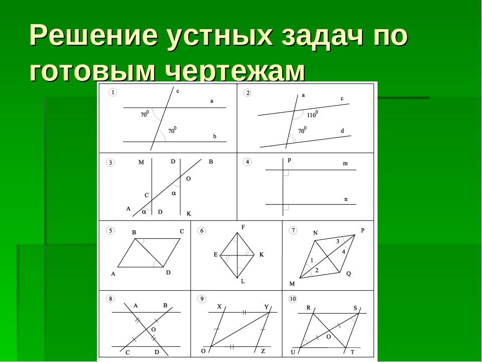 Решение устных задач по готовым чертежам