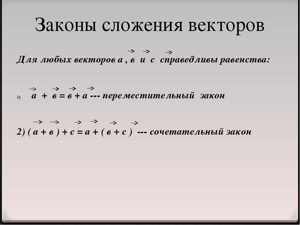 Для любых векторов а , в и с справедливы равенства: а + в = в + а --- перемес...