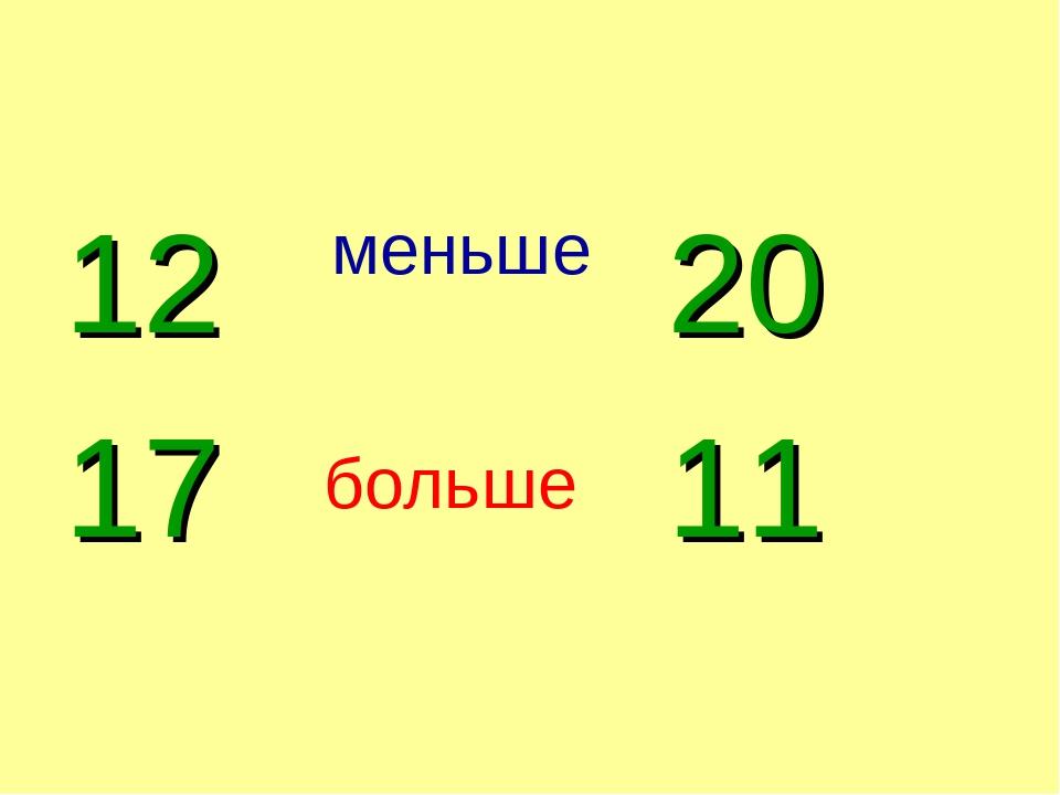 12 17 20 11 меньше больше