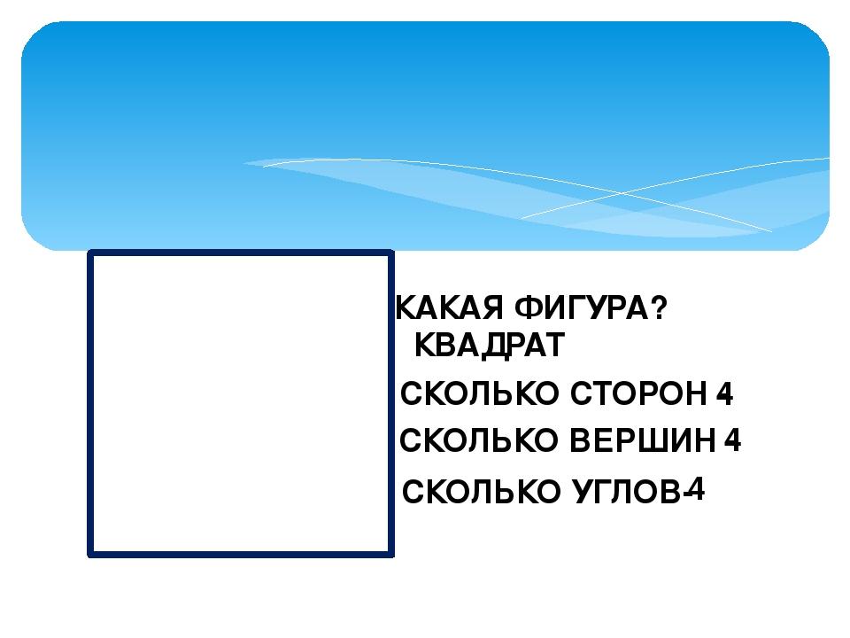 КАКАЯ ФИГУРА? КВАДРАТ СКОЛЬКО СТОРОН - 4 СКОЛЬКО ВЕРШИН - 4 СКОЛЬКО УГЛОВ- 4