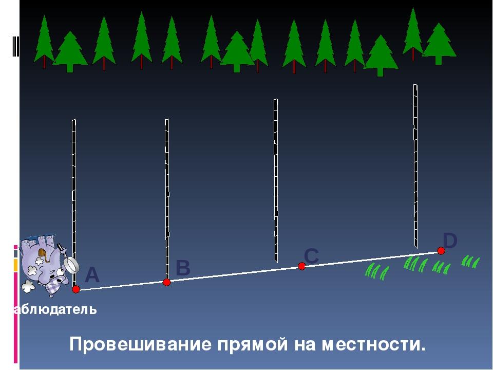 Провешивание прямой на местности. наблюдатель С А В D Такой способ широко исп...