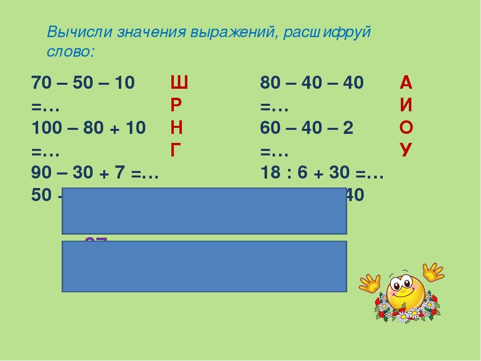 Вычисли значения выражений, расшифруй слово: 70 – 50 – 10 =… 100 – 80 + 10 =…...