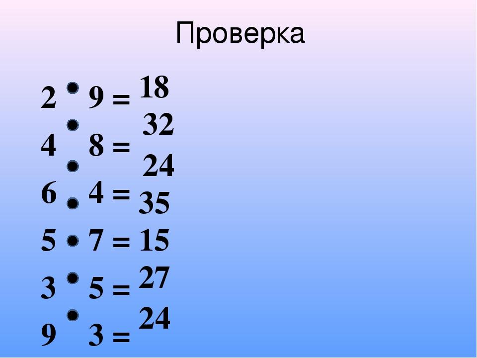 2 9 = 4 8 = 6 4 = 5 7 = 3 5 = 9 3 = 8 3 = Проверка 18 32 24 35 15 27 24