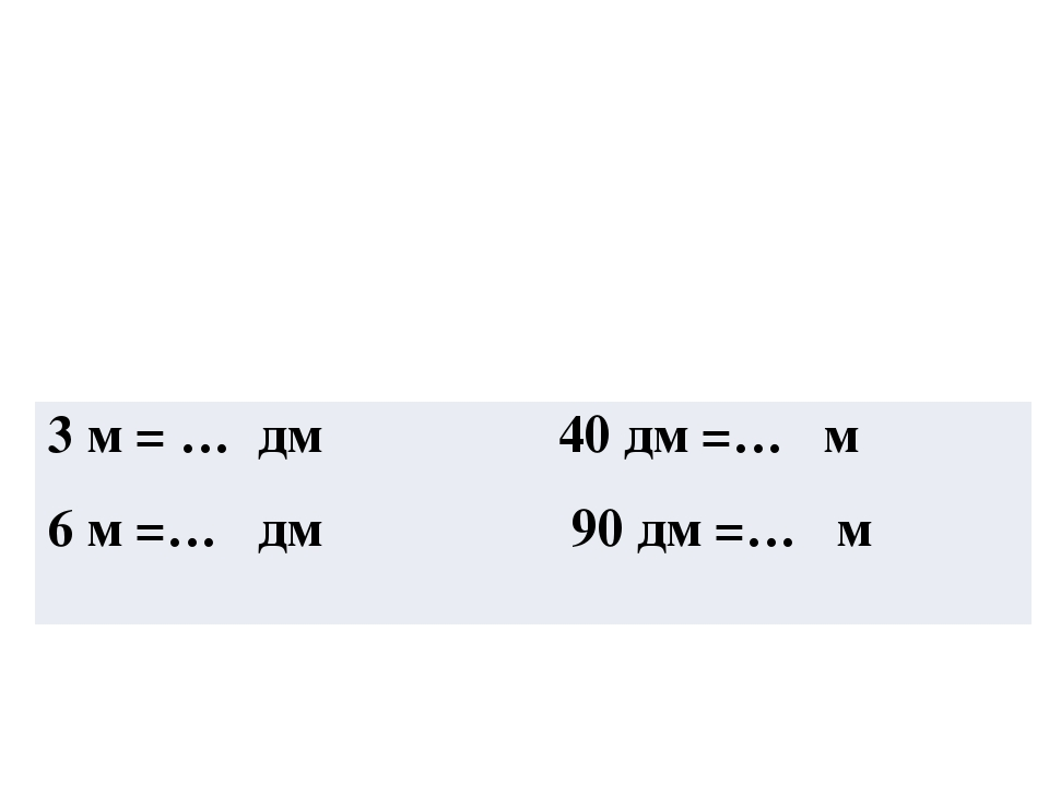 3 м =…дм40дм=… м 6 м=…дм90дм=… м