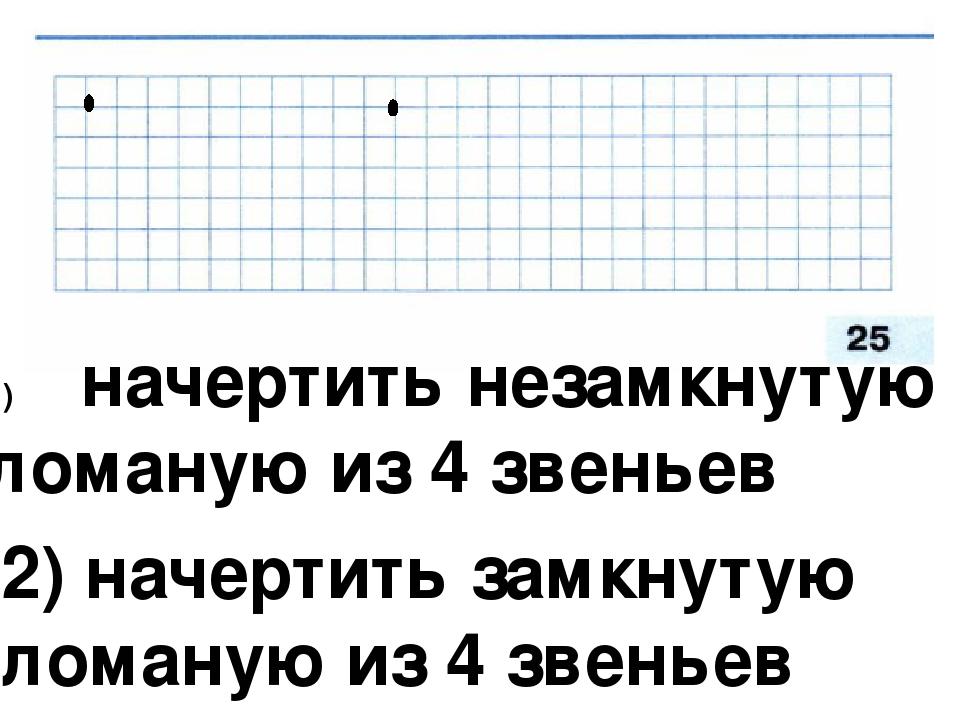 начертить незамкнутую ломаную из 4 звеньев 2) начертить замкнутую ломаную из...