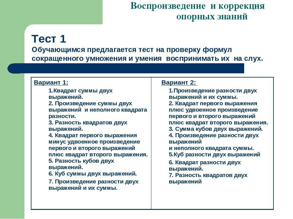 Тест 1 Воспроизведение и коррекция опорных знаний Обучающимся предлагается те...