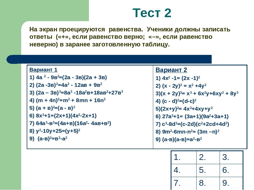 На экран проецируются равенства. Ученики должны записать ответы («+», если р...