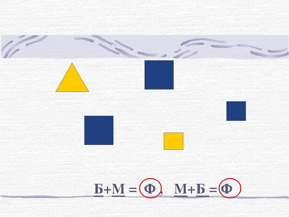 Б+М = Ф , М+Б = Ф