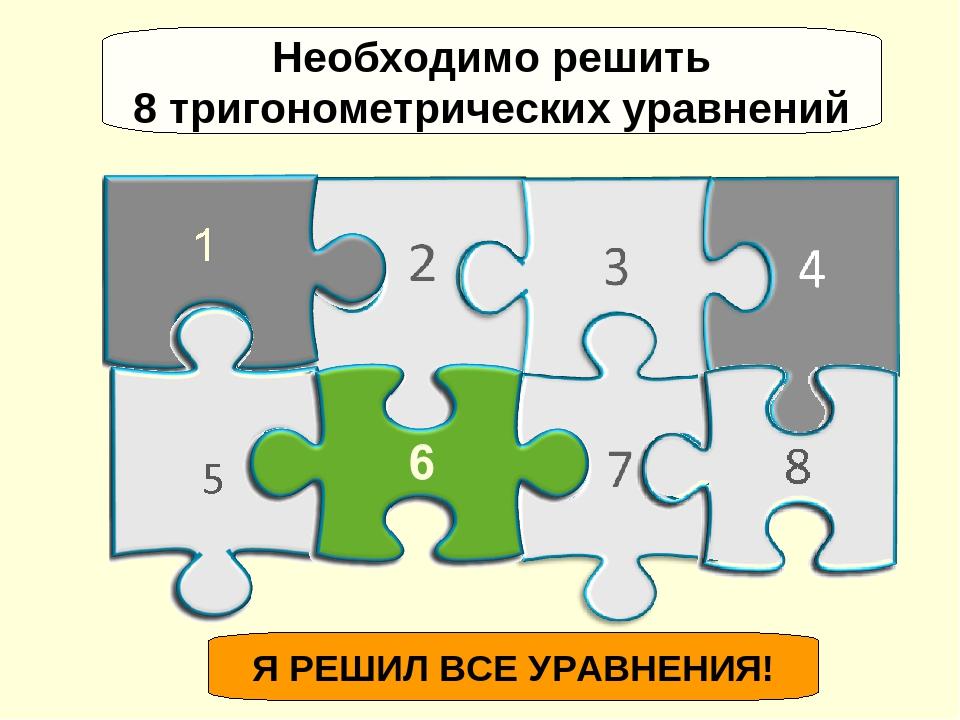 Я РЕШИЛ ВСЕ УРАВНЕНИЯ! Необходимо решить 8 тригонометрических уравнений