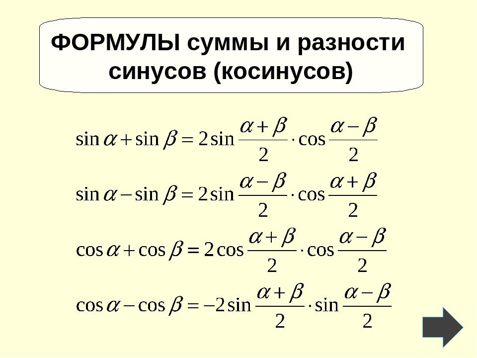 ФОРМУЛЫ суммы и разности синусов (косинусов)