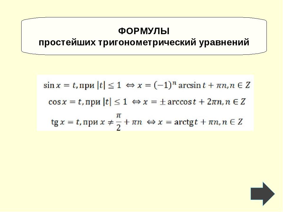 ФОРМУЛЫ простейших тригонометрический уравнений