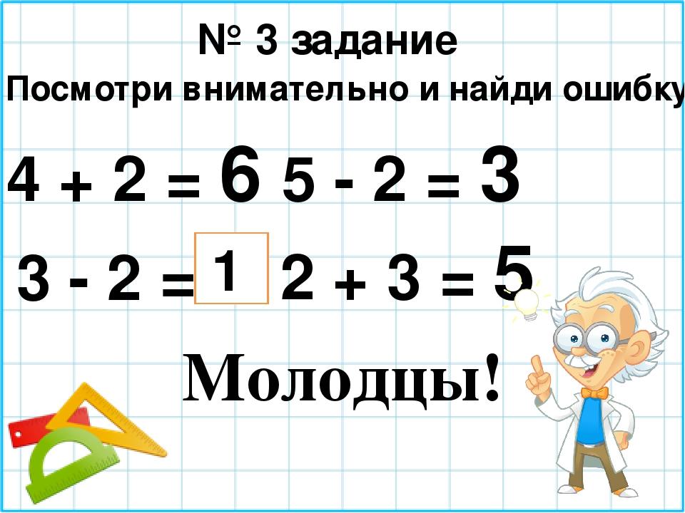 № 3 задание Посмотри внимательно и найди ошибку. 4 + 2 = 6 5 - 2 = 3 3 - 2 =...