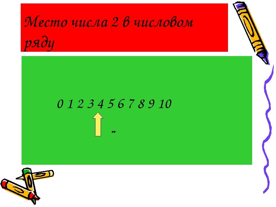 Место числа 2 в числовом ряду 0 1 2 3 4 5 6 7 8 9 10