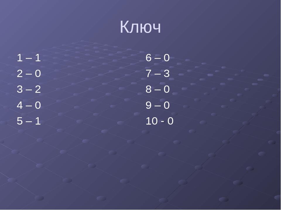 Ключ 1 – 1 2 – 0 3 – 2 4 – 0 5 – 1 6 – 0 7 – 3 8 – 0 9 – 0 10 - 0