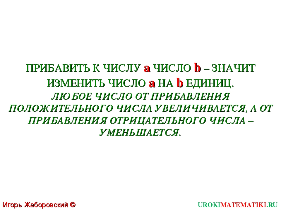 Игорь Жаборовский © 2011 UROKIMATEMATIKI.RU ПРИБАВИТЬ К ЧИСЛУ a ЧИСЛО b – ЗНА...